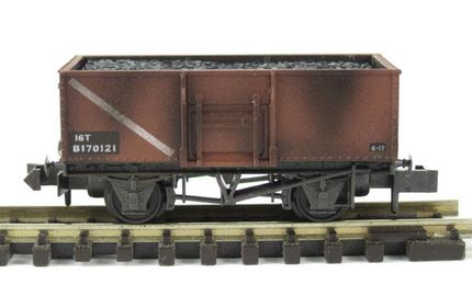 PECO NR-44FW 10ft Butterley Steel Open Wagon BR Bauxite, Weathered
