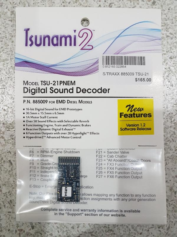 TSUNAMI 2 885009 FOR EMD DIESELS TSU-21PNEM Digital Sound Decoder